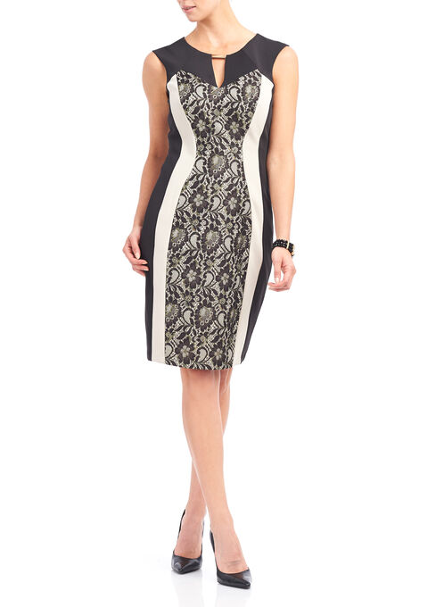Jax Lace Panel Jersey Dress, Black, hi-res
