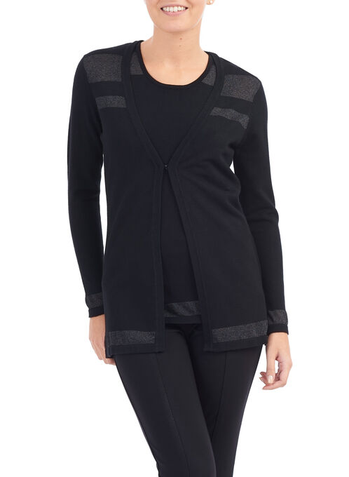 Knit Cardigan with Matching Camisole , Black, hi-res