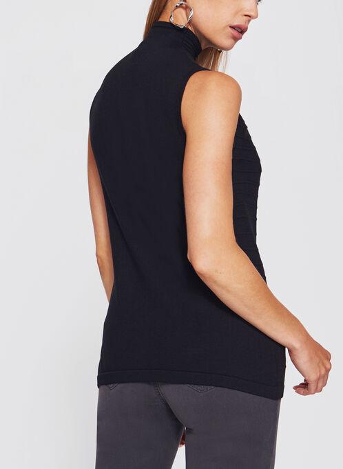 Sleeveless Funnel Neck Sweater, Black, hi-res