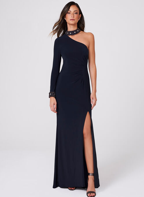 BA Nites - One Shoulder Beaded Choker Dress, Blue, hi-res