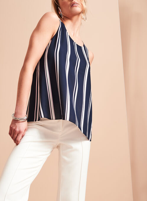 Back Slit Double Layer Blouse, Blue, hi-res