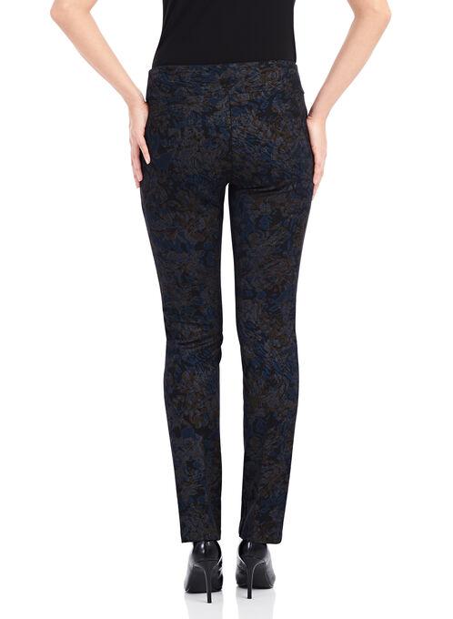 Floral Print Pull-On Scuba Pants , Blue, hi-res