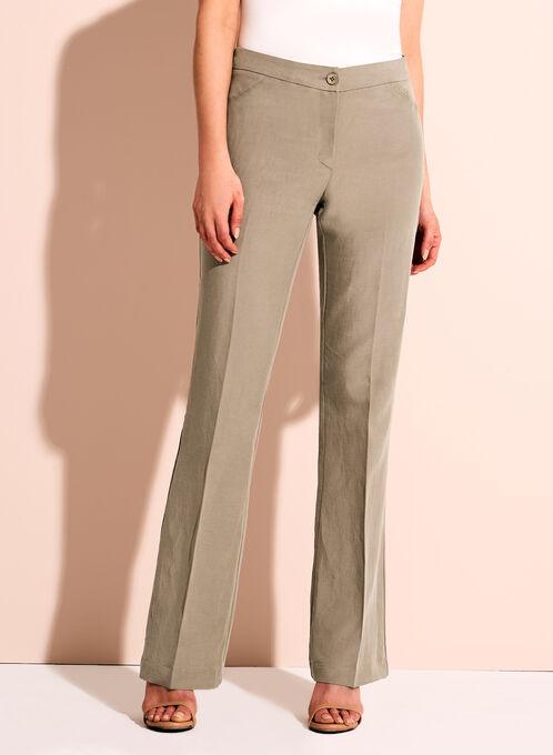 Pantalon en lin à jambe large Conrad C, Vert, hi-res