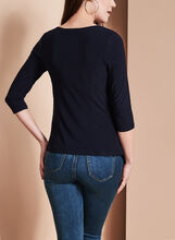 3/4 Sleeve Peaked Tunic Top, Blue, hi-res