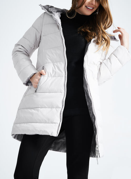 Novelti Reversible Down Coat, Silver, hi-res