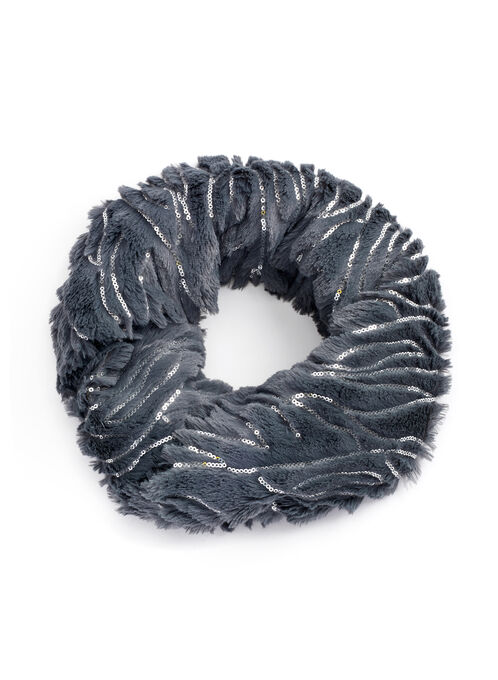 Sequin Faux Fur Loop Scarf, Grey, hi-res