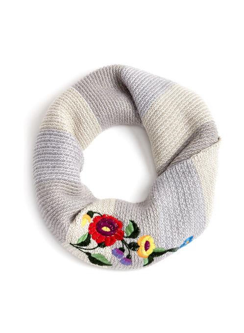 Écharpe tube en tricot rayé avec broderies florales, Gris, hi-res