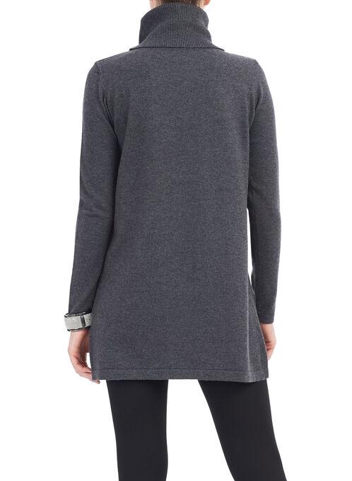 Knit Turtleneck Sweater, Grey, hi-res