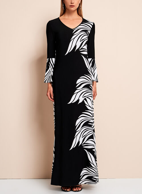 Frank Lyman - Abstract Floral Print Maxi Dress, Black, hi-res