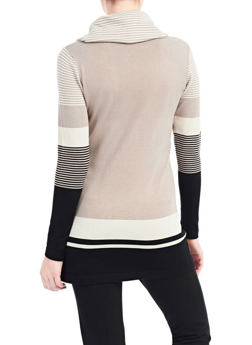 Striped Cowl Neck Sweater, Brown, hi-res