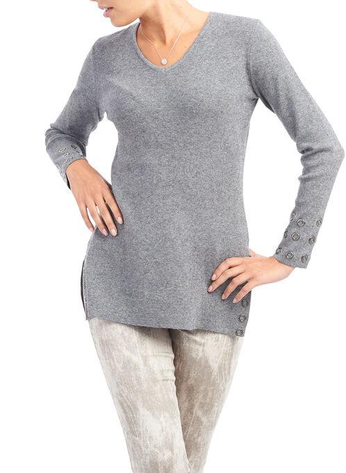 Grommet Trim Sweater, Grey, hi-res