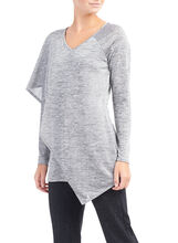 Long Sleeve Capelet Top , Grey, hi-res