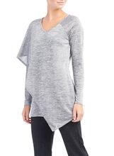 Long Sleeve Capelet Top , Grey, hi-res