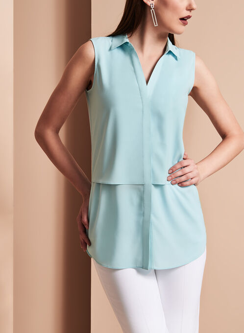 Sleeveless Notch Collar Tunic Top, Blue, hi-res