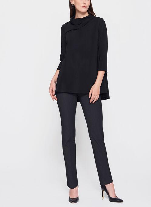 3/4 Sleeve Drape Neck Top, Black, hi-res