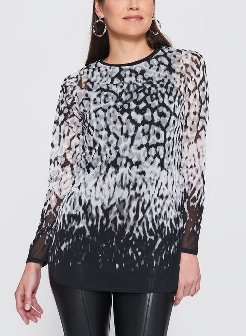 Abstract Animal Print Tunic, Black, hi-res