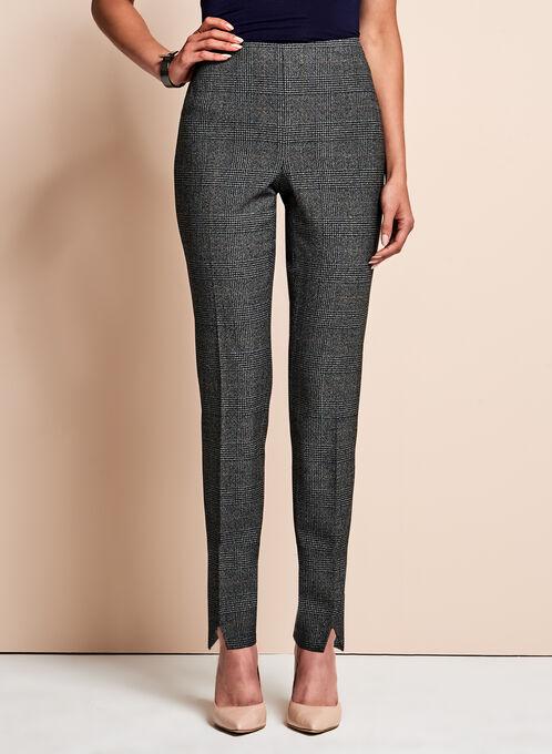 Glen Check Print Slim Sleg Pants, Black, hi-res