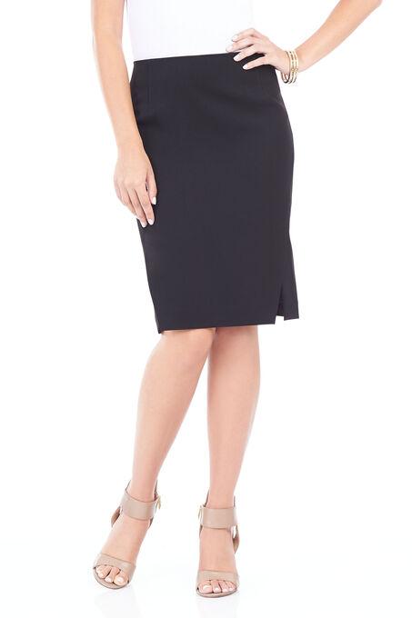 Double Slit Pencil Skirt , Black, hi-res