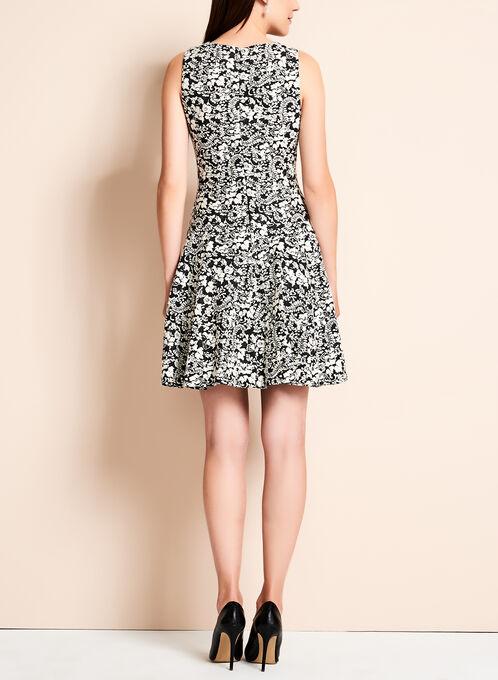 Ivanka Trump - Abstract Floral Fit & Flare Dress, Black, hi-res