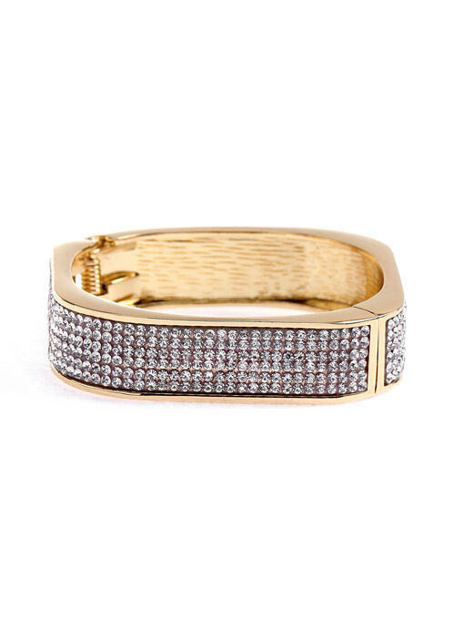 Rounded Square Crystal Embellished Bangle, Gold, hi-res