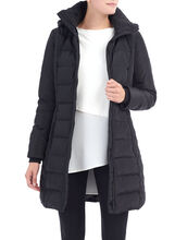 Quilted Down Coat , Black, hi-res