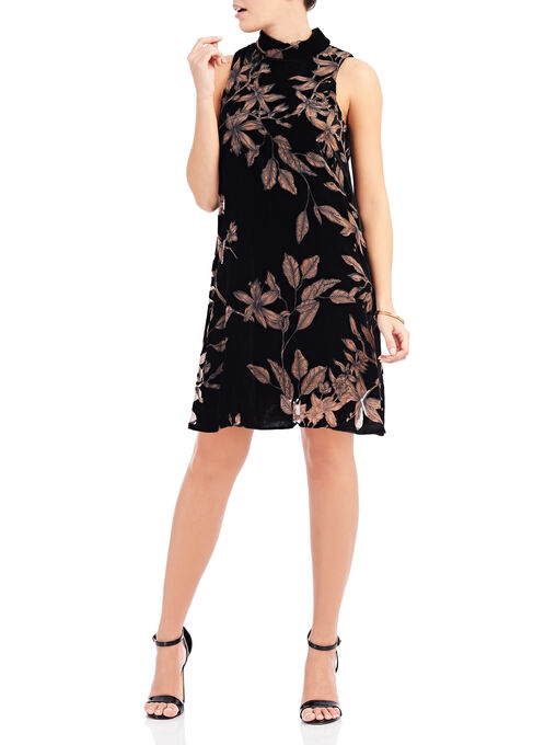 Ivanka Trump Printed Velvet Dress, Black, hi-res