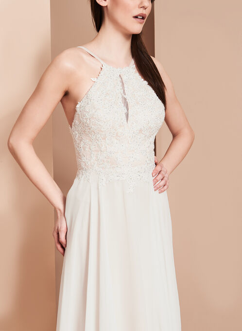 BA Nites Beaded Bodice Gown, Off White, hi-res
