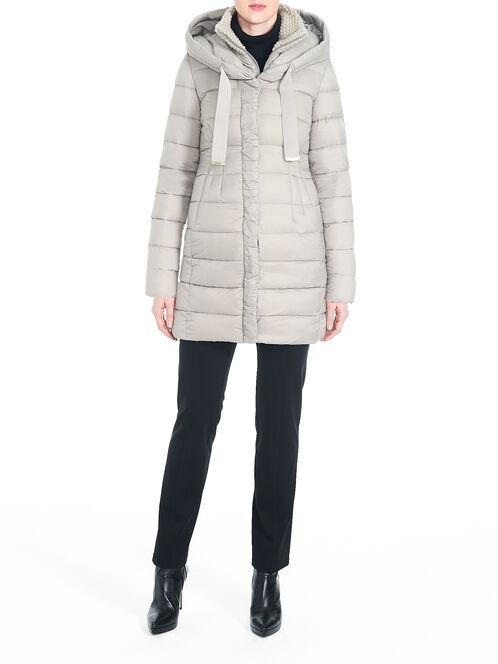 T Tahari Packable Knit Collar Down-Filled Coat, Brown, hi-res
