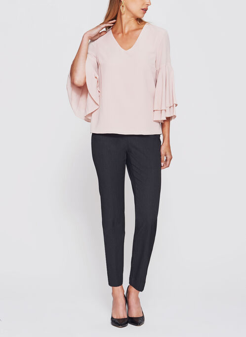 Bell Sleeve Crêpe Double Layer Top, Pink, hi-res