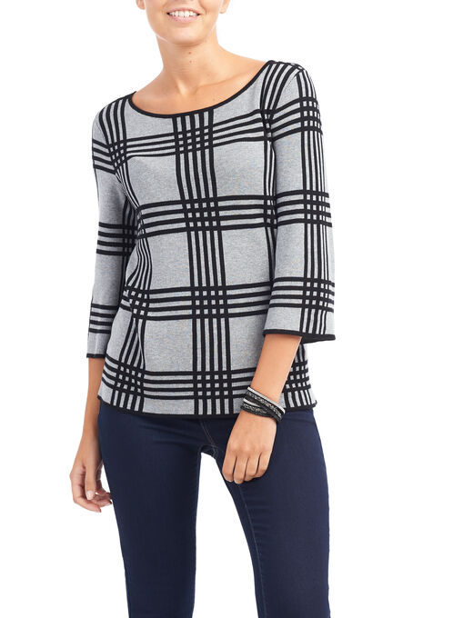 3/4 Sleeve Plaid Knit Top, Grey, hi-res