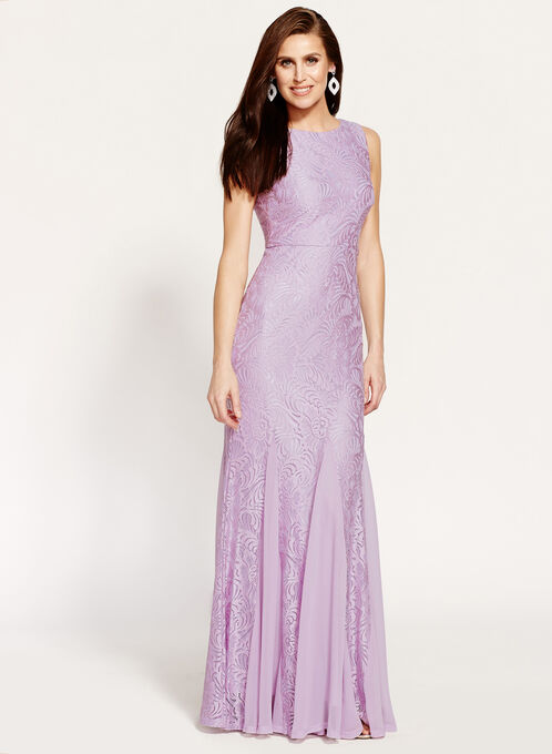 Floral Lace Mermaid Dress, Purple, hi-res