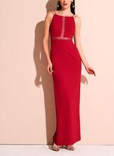 Aidan Crepe Lace Trim Dress, Red, hi-res