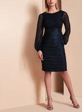 Lace Bodice Shimmer Tuck Dress , Blue, hi-res