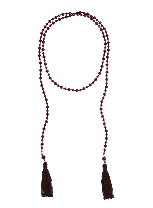 Tassled Lariat Necklace, Red, hi-res