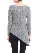 Asymmetrical Knit Tunic Top, Black, hi-res