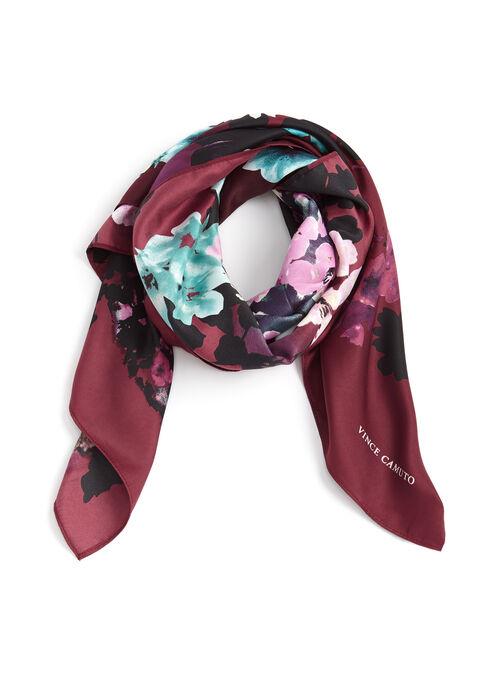 Foulard carré imprimé fleuri, Pourpre, hi-res