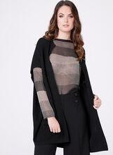 Dolman Sleeve Open Front Cardigan, Black, hi-res
