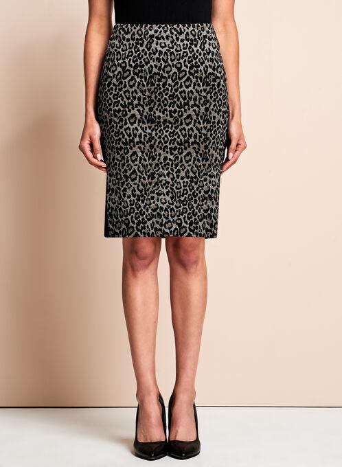 Jupe crayon à motif léopard, Noir, hi-res