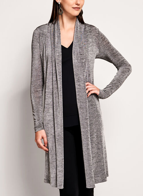 Long Sleeve Cascade Front Duster, Off White, hi-res