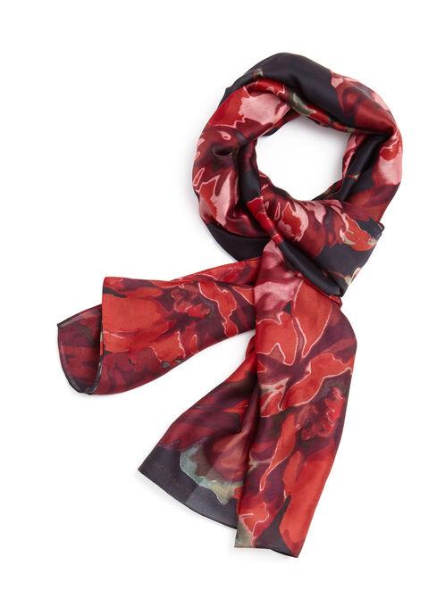 Foulard imprimé à fleurs , Noir, hi-res