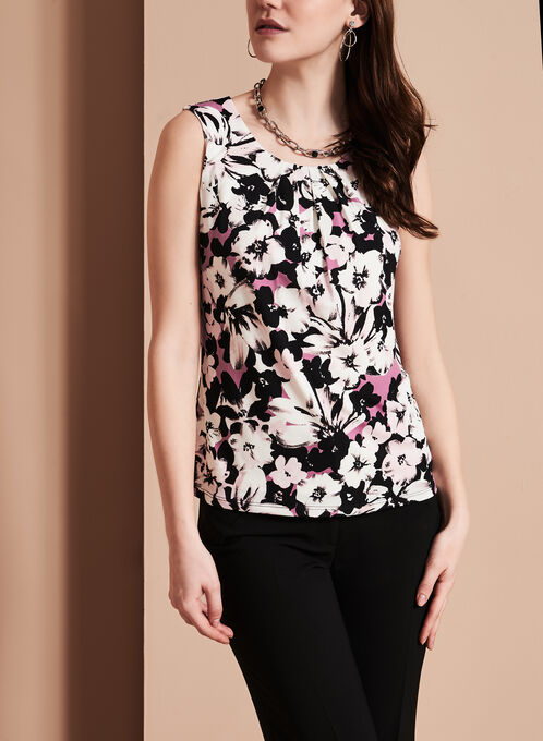 Sleeveless Floral Print Top, Red, hi-res