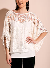 Frank Lyman Embroidered Lace Poncho Blouse, Off White, hi-res