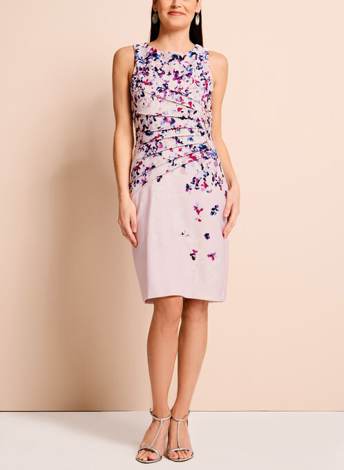 Ivanka Trump Floral Print Scuba Dress, Pink, hi-res