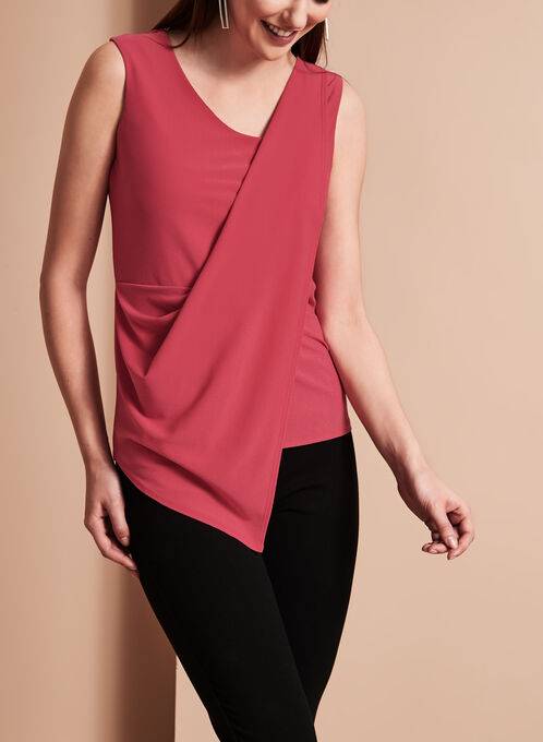 Ruched Asymmetric Crepe Blouse, Pink, hi-res