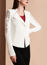 Crepe Lace Trim One-Button Blazer, Off White, hi-res