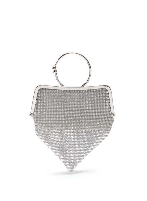 Metallic Ring Trim Clutch, Silver, hi-res