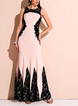 Floral Lace Jersey Gown , Black, hi-res