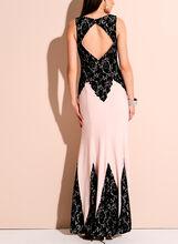 Decode 1.8 - Lace Trim Jersey Gown , Black, hi-res