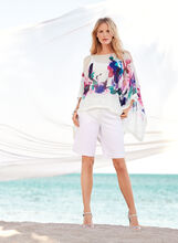 Floral Print Cold Shoulder Poncho Blouse, , hi-res