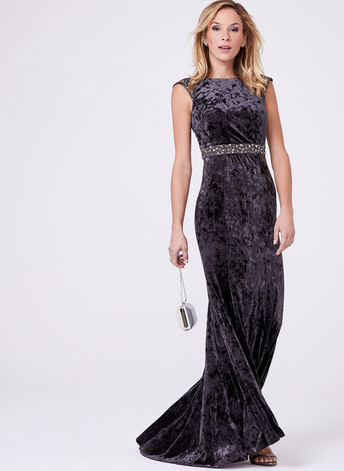 Decode 1.8 - Beaded Empire Velvet Gown, Grey, hi-res